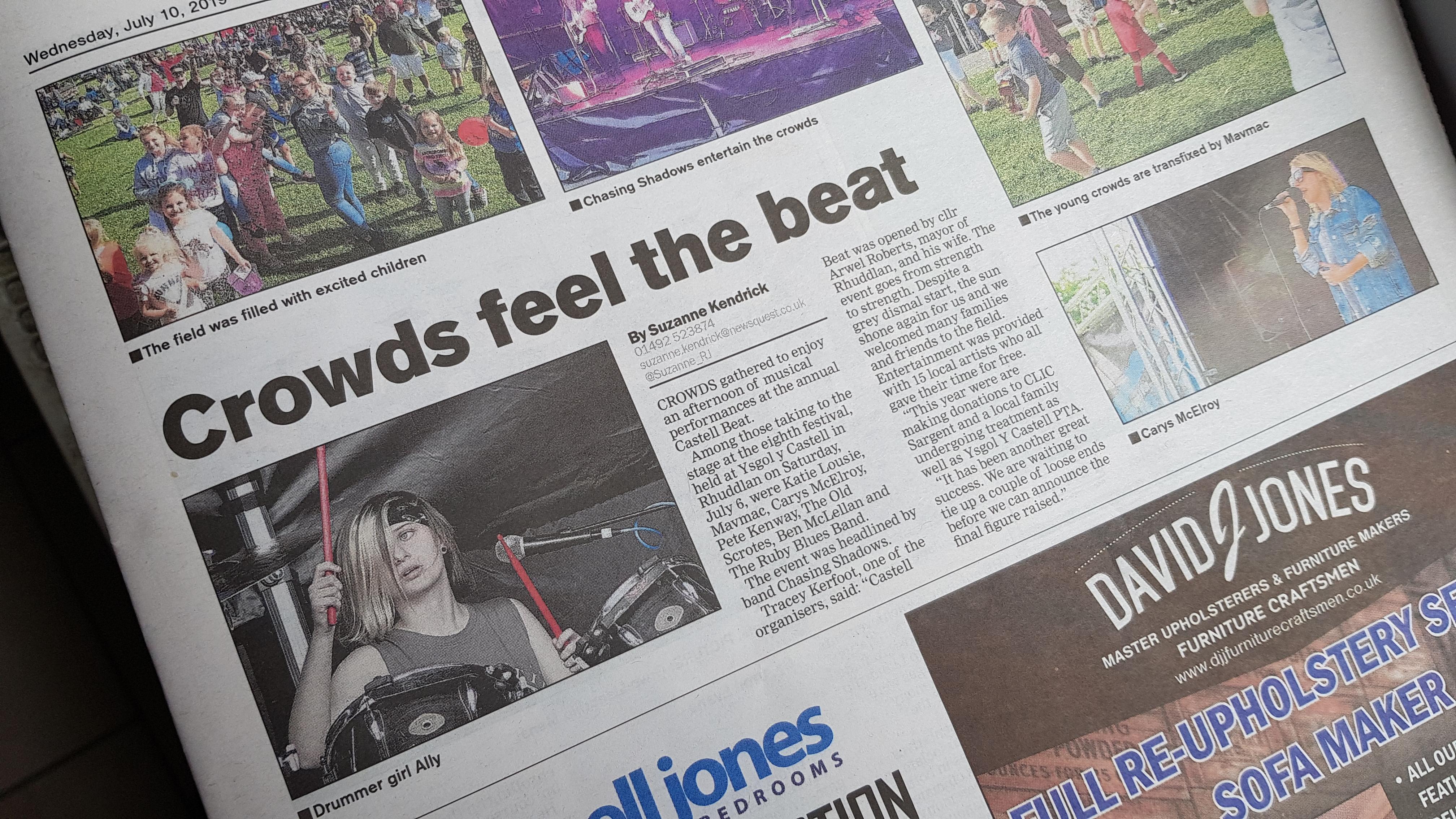 Ally Smith UK Drummer Rhyl Journal Newspaper